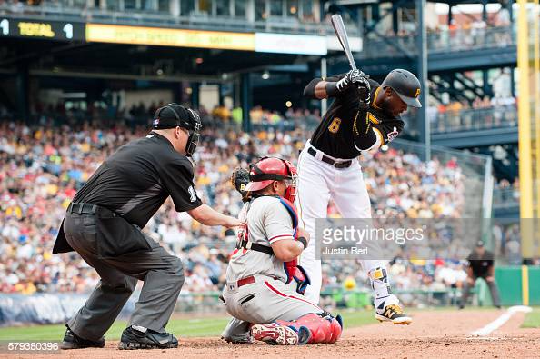 Starling Marte of the Pittsburgh Pirates is hit by a pitch thrown by Severino Gonzalez of the Philadelphia Phillies in the fifth inning during the...