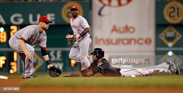 Starling Marte of the Pittsburgh Pirates is safe at second with a stolen base ahead of the throw to Zack Cozart of the Cincinnati Reds during the...