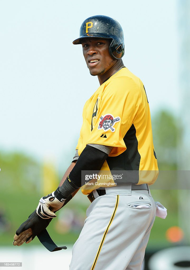 Starling Marte #6 of the Pittsburgh Pirates looks on during the spring training game against the Detroit Tigers at Joker Marchant Stadium on March 2, 2013 in Lakeland, Florida. The Tigers defeated the Pirates 4-1.