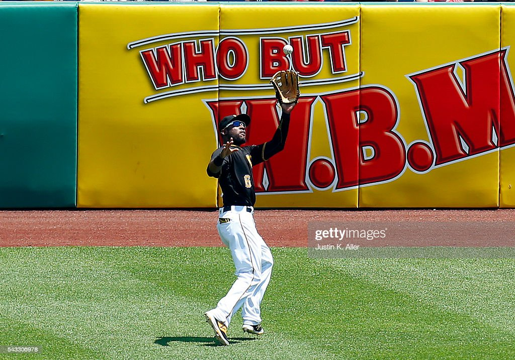 <a gi-track='captionPersonalityLinkClicked' href=/galleries/search?phrase=Starling+Marte&family=editorial&specificpeople=7934200 ng-click='$event.stopPropagation()'>Starling Marte</a> #6 of the Pittsburgh Pirates makes a catch in the third inning during the game against the Los Angeles Dodgers at PNC Park on June 27, 2016 in Pittsburgh, Pennsylvania.