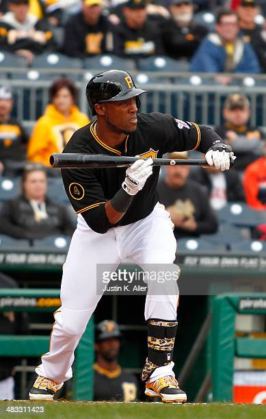 Starling Marte of the Pittsburgh Pirates plays against the Chicago Cubs during the game at PNC Park April 3 2014 in Pittsburgh Pennsylvania