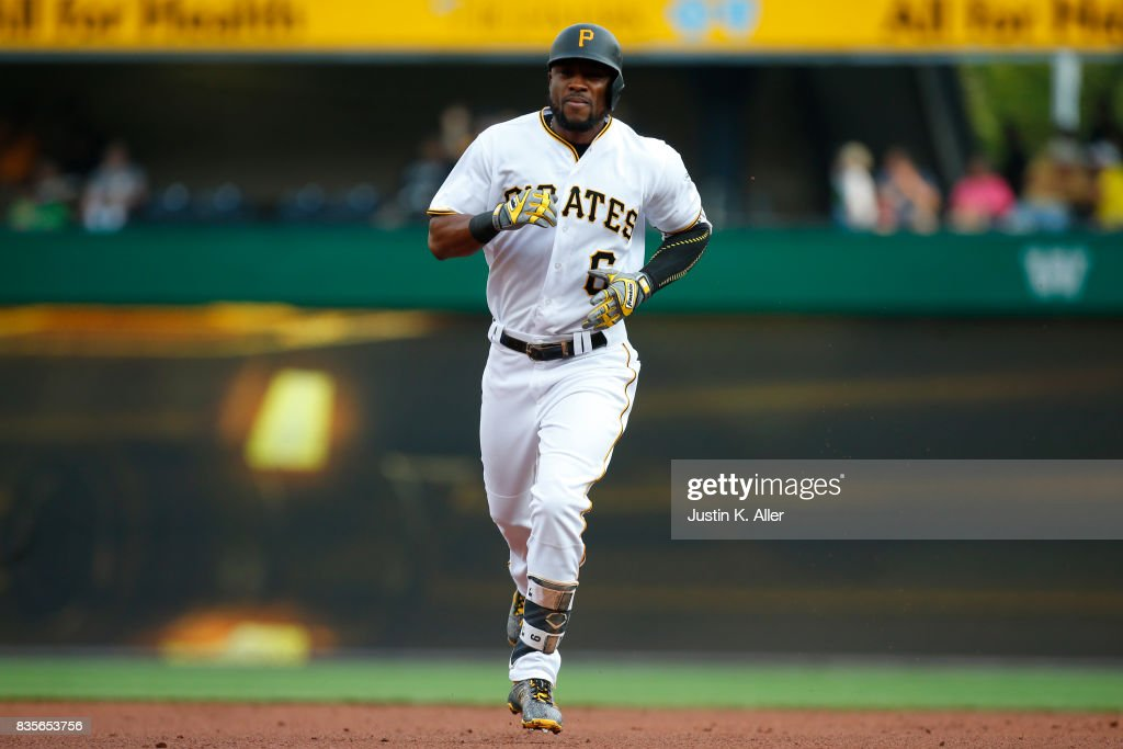 Starling Marte #6 of the Pittsburgh Pirates rounds second after hitting a two run home run in the second inning against the St. Louis Cardinals at PNC Park on August 19, 2017 in Pittsburgh, Pennsylvania.