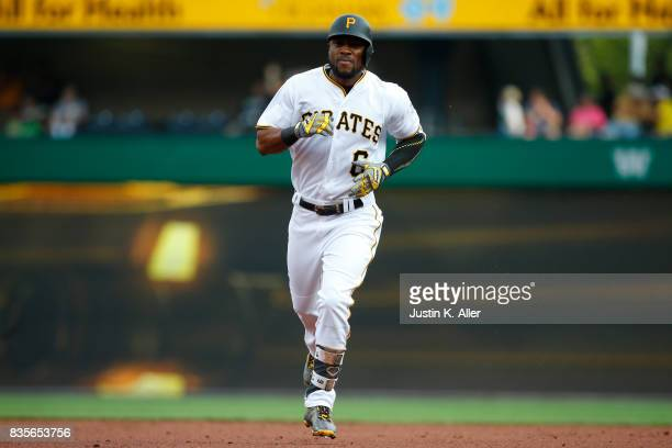 Starling Marte of the Pittsburgh Pirates rounds second after hitting a two run home run in the second inning against the St Louis Cardinals at PNC...