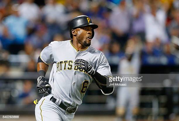 Starling Marte of the Pittsburgh Pirates runs out his eighth inning two run home run against the New York Mets at Citi Field on June 14 2016 in the...