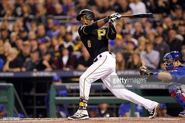 Starling Marte of the Pittsburgh Pirates strikes out in the first inning during the National League Wild Card game against the Chicago Cubs at PNC...