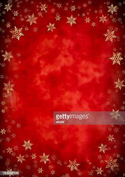 Starry Christmas background with gold foil snowflakes