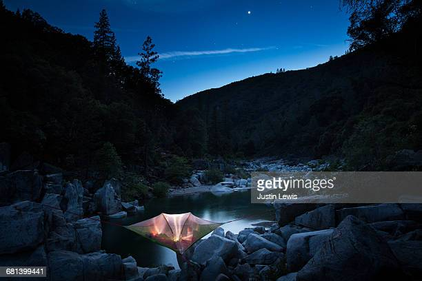 Starry Night, Camper in Tree Tent Above River