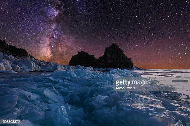 Starry night on Lake Baikal