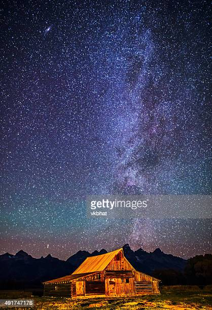 Starry night over Mormon Row Barn GTNP