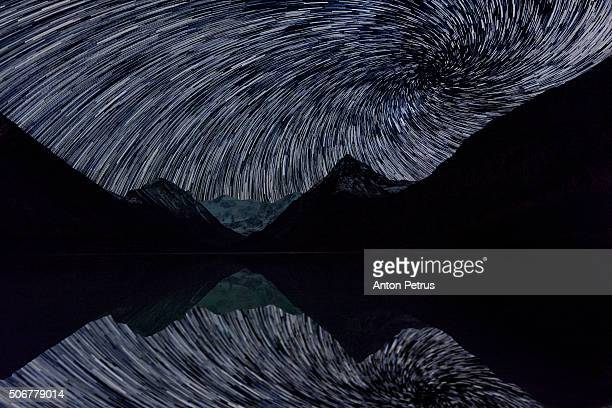 Starry Night over the mountain lake