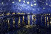 Starry Night Over the Rhone by Vincent Willem van Gogh Dutch postImpressionist painter