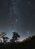 A picture of the night sky with shining stars of Milky Way