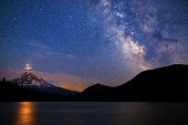 Starry night sky with Mars and the Milky Way rising over Mt. Hood from Lost Lake, Oregon, USA. The reflection of Mars is visible in the lake water below the mountain.