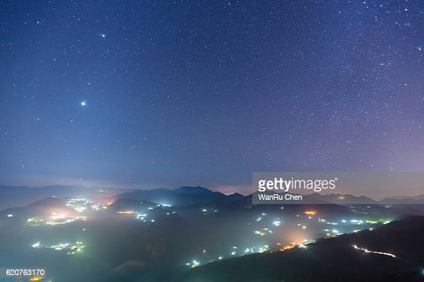 Starry Night with Galaxy at  Alishan , Chiayi, Taiwan