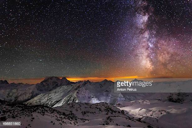 Starry sky above the Caucasus Mountains