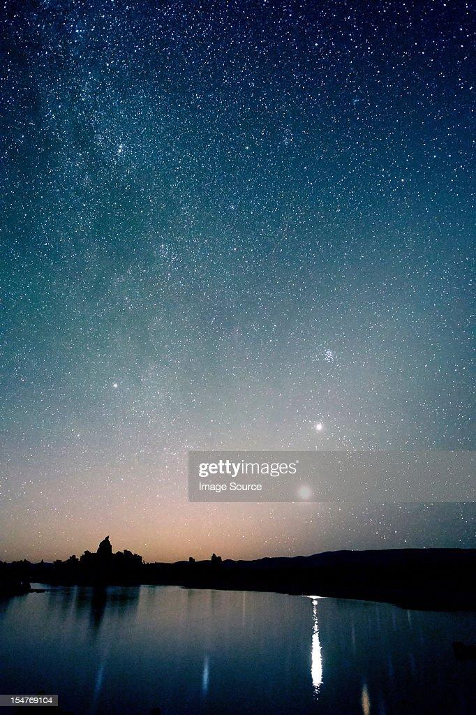 Starry sky at night, mono lake, california, usa : Stock Photo