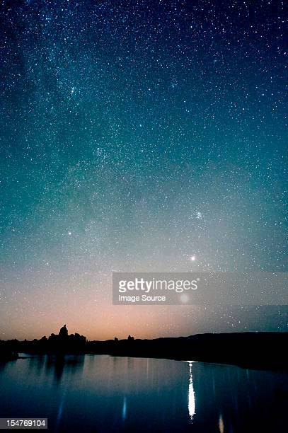 Starry sky at night, mono lake, california, usa