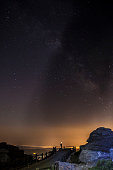 Starry sky background at night in El Torcal de Antequera natural park, Andalusia, Spain. Some of light orange pollution