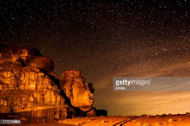 Starry sky on desert of Wadi Rum