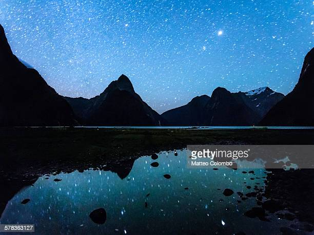 Starry sky over Milford Sound, New Zealand