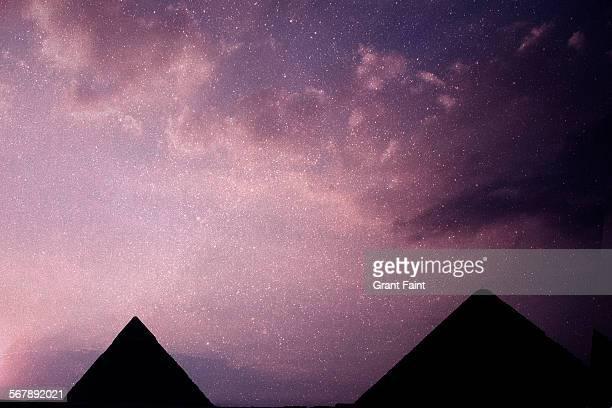 Stars above pyramids
