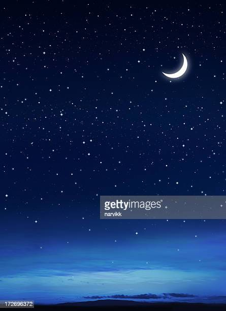 Stars and Moon on the Dark Blue Sky