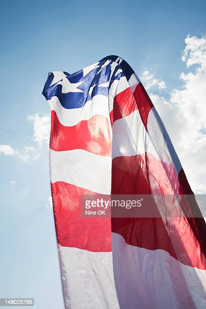Stars and stripes banner blowing in wind