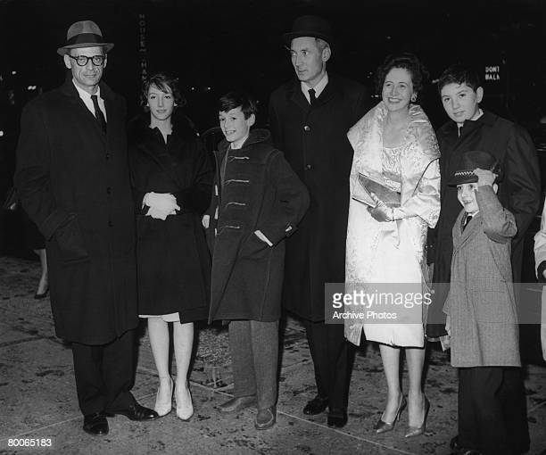 Stars at a special showing of the film 'The Misfits' at the Capitol Theatre in New York City February 1961 From left to right playwright Arthur...