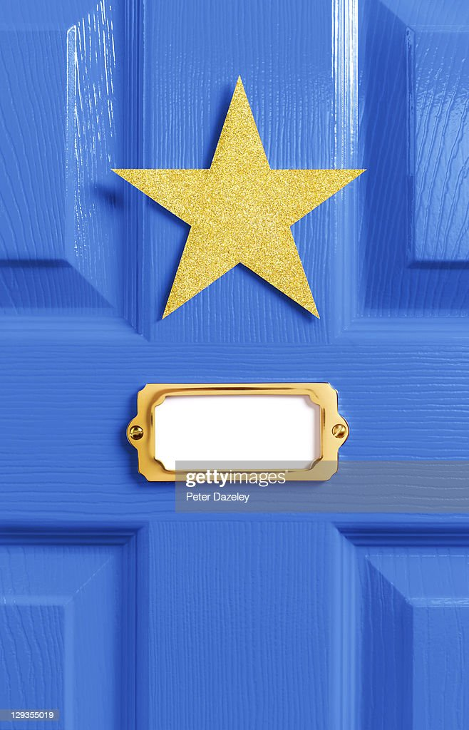 Stars blue dressing room door : Stock Photo