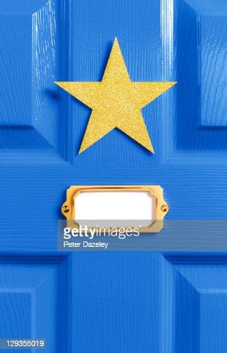 Stars blue dressing room door : Stock Photo