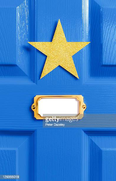 Stars blue dressing room door