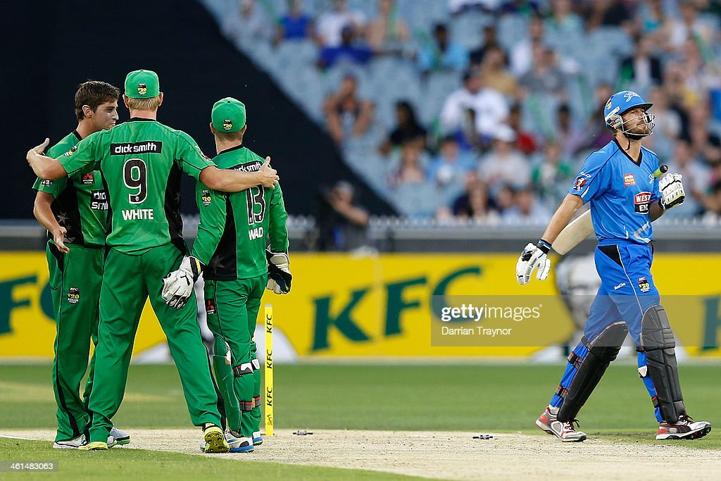 Stars captain Cameron White (9) congratulates team mates on the wicket of Michael Nesser of the Stikers during the Big Bash League match between the Melbourne Stars and the Adelaide Strikers at Melbourne Cricket Ground on January 9, 2014 in Melbourne, Australia.