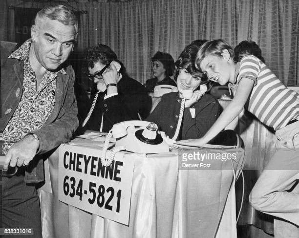 Stars Conduct Leukemia Telethon Television personalities Lorne Greene of Bonanza and Jay North of Dennis the Menace listen as Deryn Price of 1180 S...