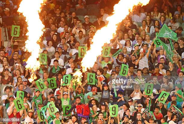 Stars fans in the crowd show their support after a six was hit during the Big Bash League match between the Melbourne Stars and the Hobart Hurricanes...