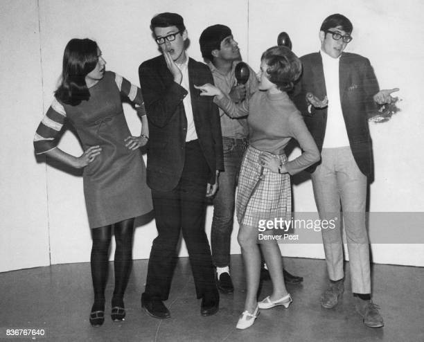Stars Of Ranum High School's 'Show Time '68' Rehearse A Number From left are Kathy Taylor Mitch Killman Reuben Hernandez Jackie Edwards and Don Burk...