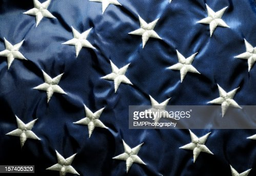 星空にアメリカの国旗のクローズアップ