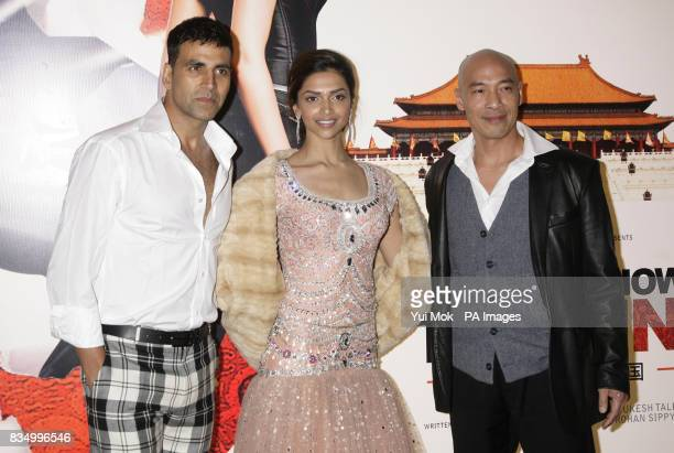Stars of the film Deepika Padukone Akshay Kumar and Roger Yuan arriving for the premiere of 'Chandni Chowk To China' at The Empire in Leicester...
