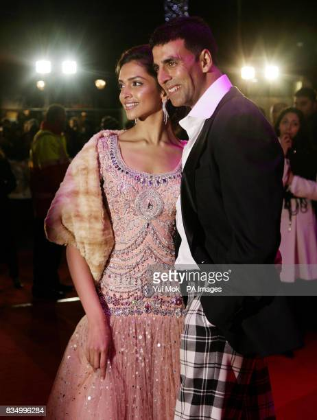 Stars of the film Deepika Padukone and Akshay Kumar arriving for the premiere of 'Chandni Chowk To China' at The Empire in Leicester Square central...