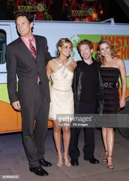 stars of the film Matthew Lillard Sarah Michelle Gellar Seth Green and Linda Cardellini arrive for the UK premiere of Scooby Doo 2 Monsters Unleashed...