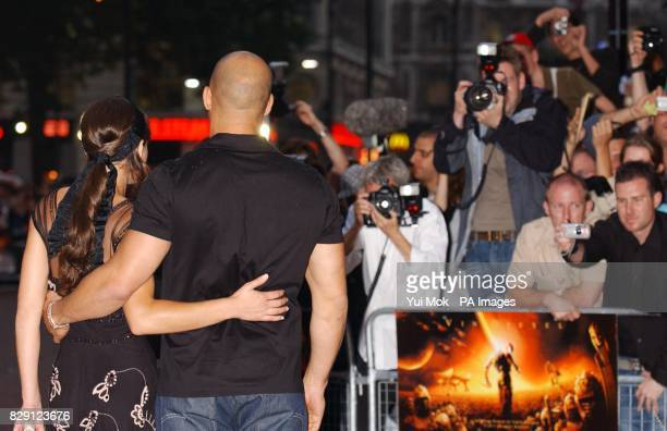Stars of the film Vin Diesel and Alexa Davalos arrive for the premiere of The Chronicles Of Riddick at the Vue West End in Leicester Square central...