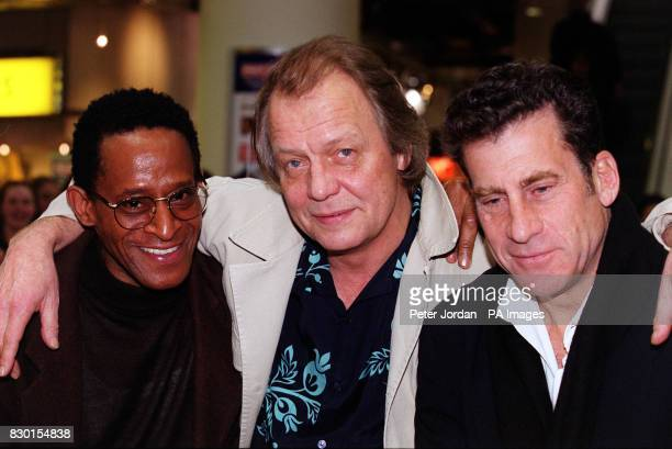 Stars of the hit 70's TV show Starsky and Hutch Antonio Fargas David Soul and Paul Michael Glaser at the Virgin Megastore in Oxford Street London...