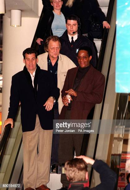Stars of the hit 70's TV show Starsky and Hutch Paul Michael Glaser David Soul and Antonio Fargas at the Virgin Megastore in Oxford Street London...
