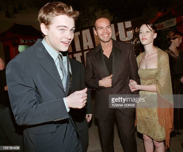 Stars of the movie 'Titanic' Leonardo DiCaprio and Billy Zane arrive at the movie's premier in Hollywood California on the 14 December Zane is...