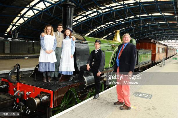 Stars of the play The Railway Children Louisa Clein Nicholas Bishop Sarah Quintrell and Marshall Lancaster are seen with Patrick Stirling and...