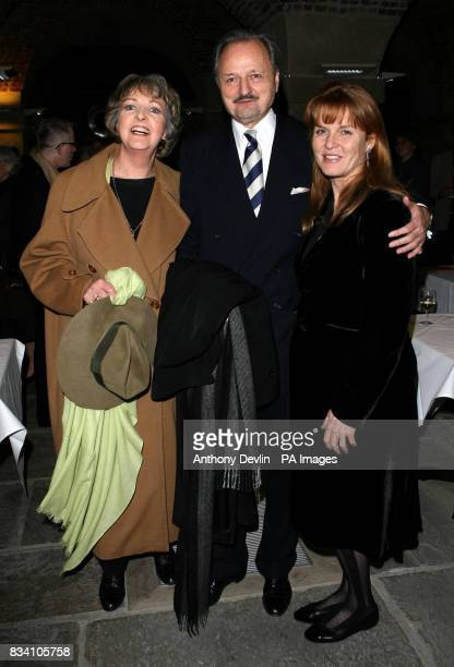Stars of To The Manor Born Penelope Keith and Peter Bowles pose for photographers with Sarah Ferguson during the Importance of Being Earnest after...