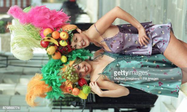 Stars of TV's 'Man O Man' Fleur modelling a green fruity floral chemise and Clarewearing a Mountain purple fruity floral teddy from the La Senza...