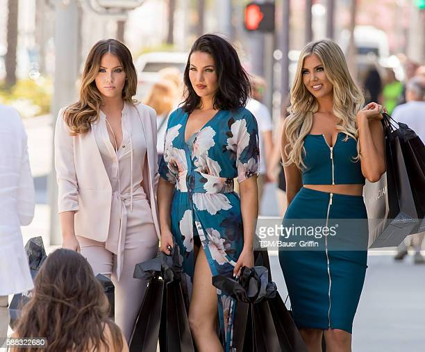 WAGS stars Olivia Pierson Natalie Halcro and Sophia Pierson are seen on a photoshoot for a Guess Marciano campaign at the Guess store in Rodeo in...