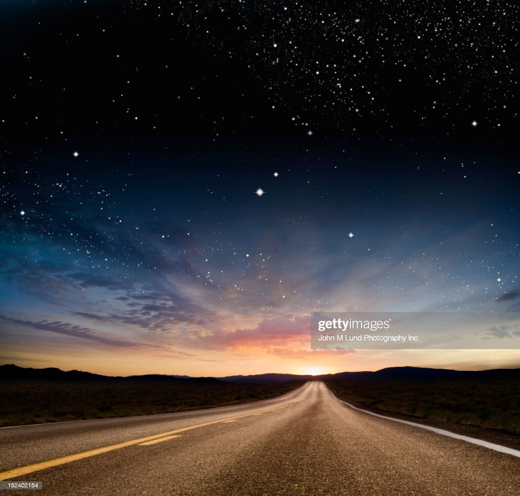 Stars over remote highway