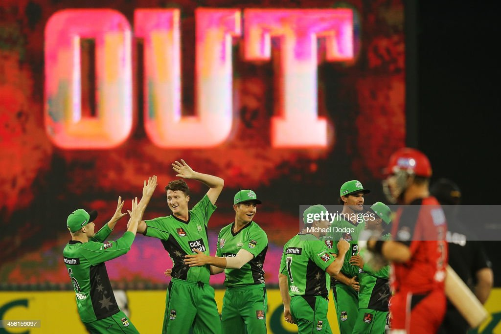 Stars players celebrate the dismissal of Ben Rohrer of the Renegades by Jackson Bird during the Big Bash League match between the Melbourne Stars and...