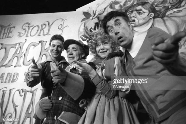 Stars rehearse at the London Palladium for Jack and the Beanstalk From right Frankie Howerd Dora Bryan Alfie Bass and Mark Wynter